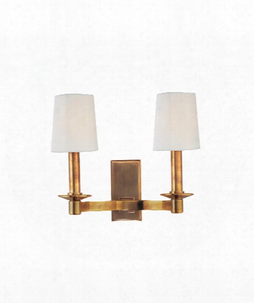 "Spencer 12"" 2 Light Wall Sconce In Aged Brass"