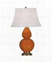 "Double Gourd 7"" 1 Light Table Lamp in Antique Brass-Pumpkin"