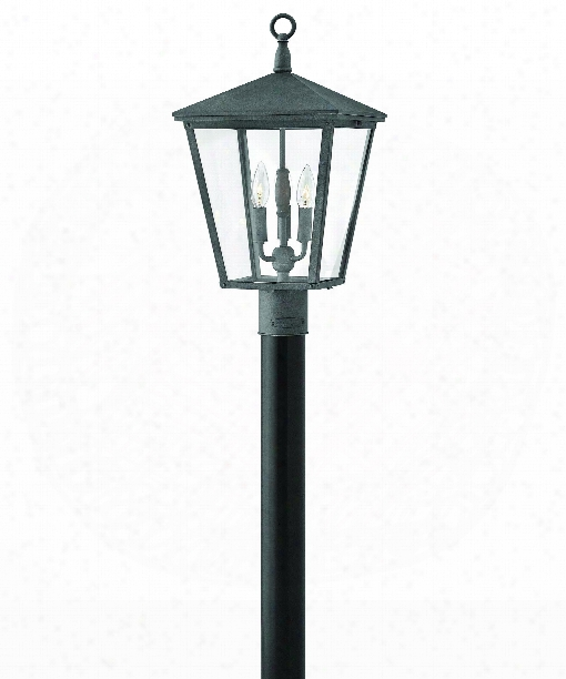 "Trellis 11"" 3 Light Outdoor Outdoor Post Lamp In Aged Zinc"
