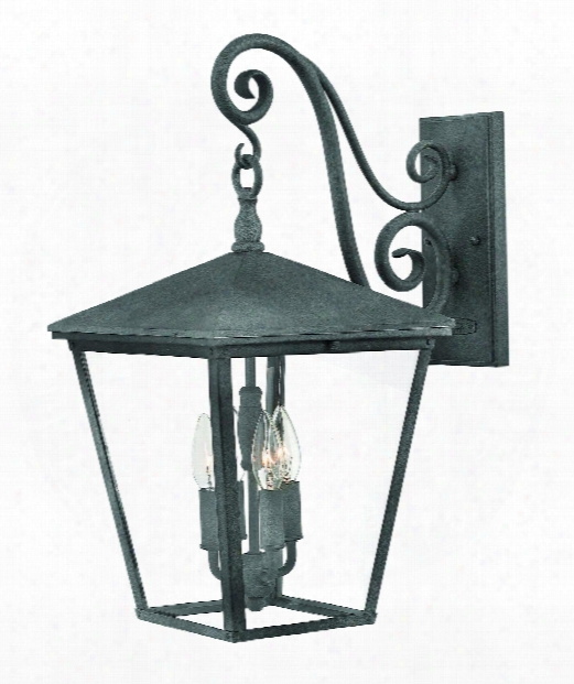 Trellis 1&1quot; 4 Light Outdoor Outdoor Wall Light In Aged Zinc