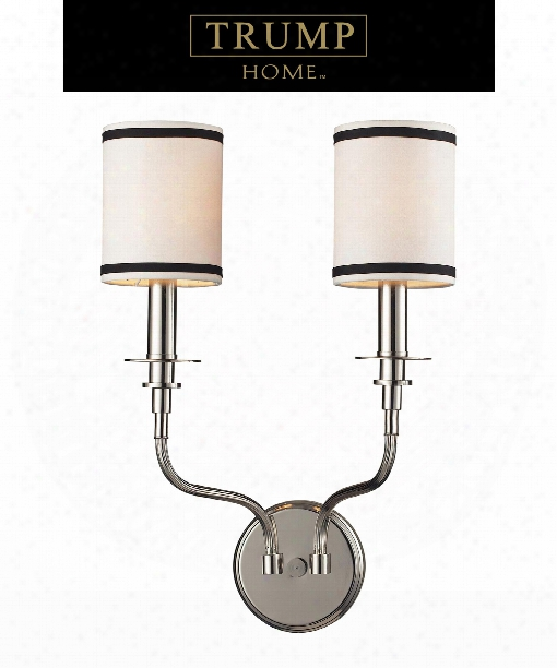 "Tribeca 13"" 2 Light Wall Sconce In Polished Nickel"