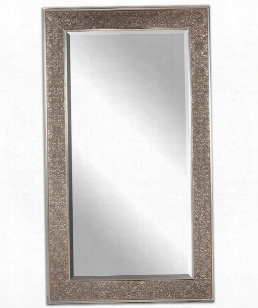 "Villata 40"" Wall Mirror In Antiqued Silver Champagne"