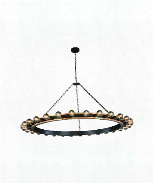 "Winston 65"" 30 Light Chandelier In Golden Iron & Vintage Bronze"