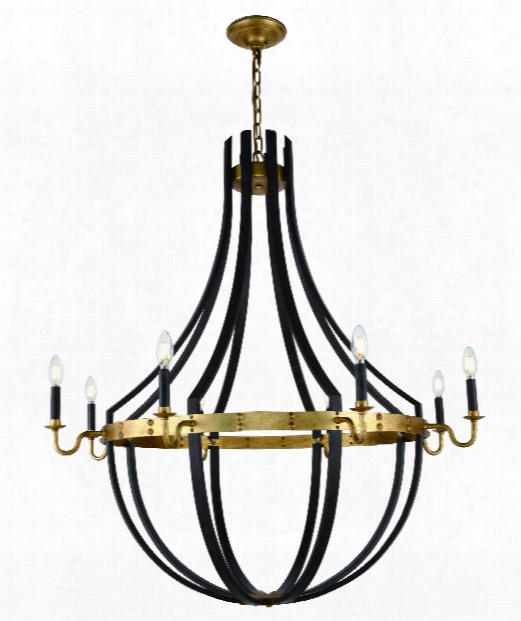 "Woodland 43"" 8 Light Chandelier In Saddle Rust - Golden Iron"