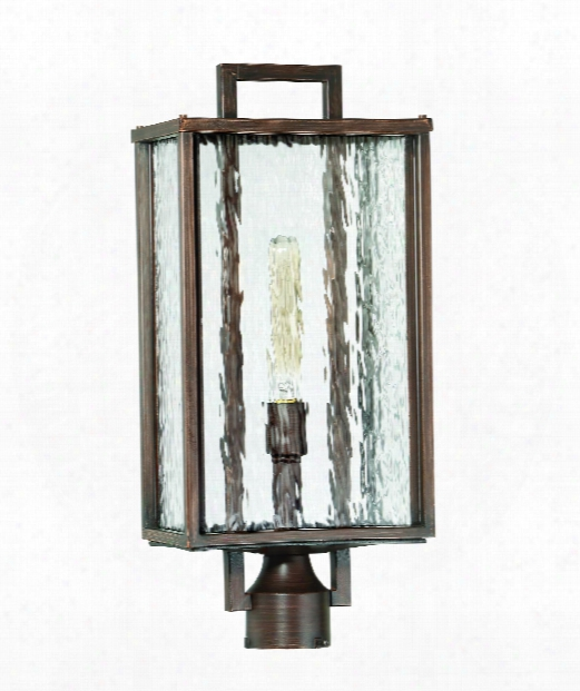 "Cubic 10"" 1 Light Outdoorr Post Lamp In Aged Bronze Brushed"