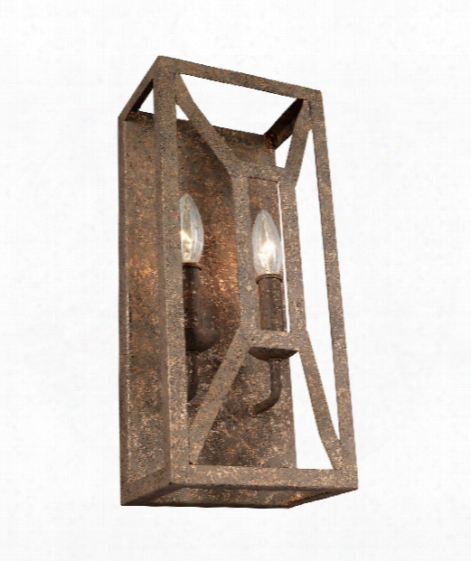 "Marquelle 7"" 2 Light Wall Sconce In Distressed Goldleaf"