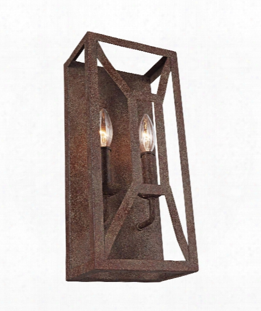 "Marquelle 7"" 2 Light Wall Sconce In Weeathered Iron"