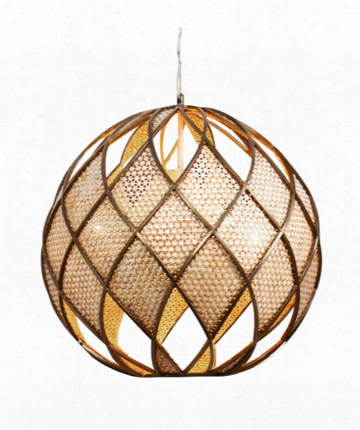 "Argyle 20"" 4 Light Large Pendant In New Bronze With Desert Pearl"