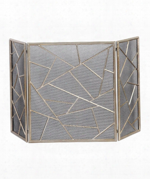 """Armimo 51"""" Fireplace Protection In Lightly Antiqued Silver Leaf"""