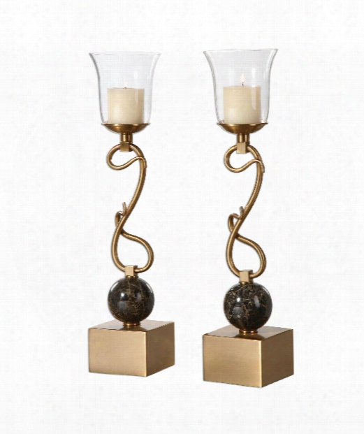 "Attila 6"" Candle Holder In Brushed Coffee Bronze-black Marble"