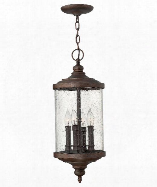 "Barrington 9"" 4 Light Outdoor Hanging Lantern In Victorian Bronze"