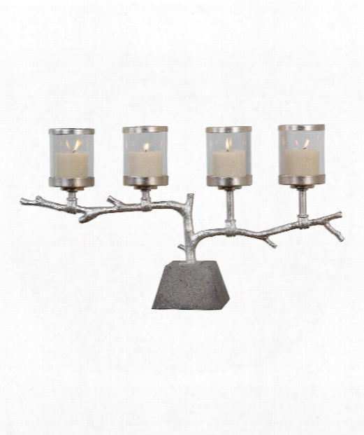 "Branch 29"" Candle Holder In Bright Metallic-silver Leaf"
