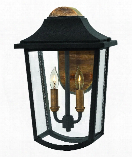 "Burton 10"" 2 Light Outdoor Outdoor Wall Light In Black"