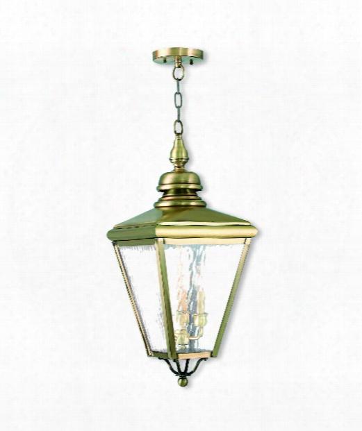 "Cambridge 11"" 3 Light Outdoor Hanging Lantern In Antique Brass"