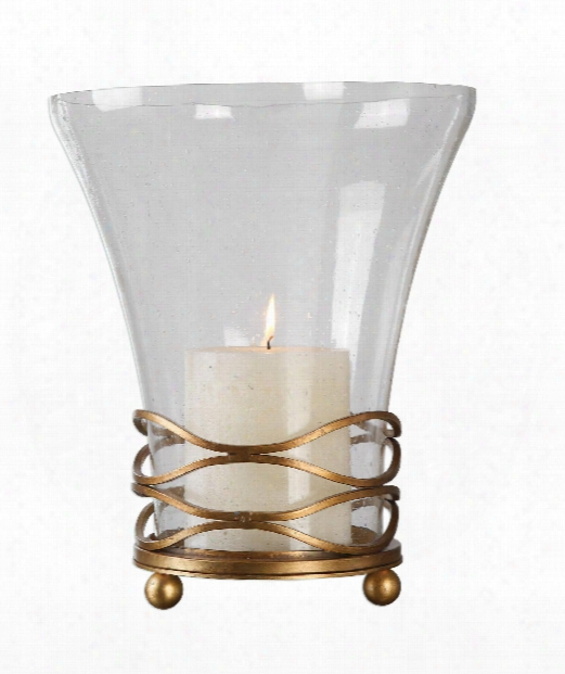 "Cristoforo 12"" Candle Holder In Gold Leaf"