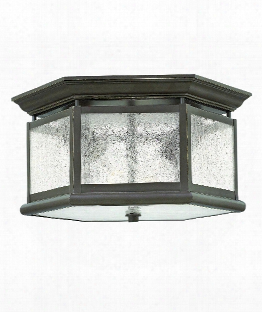 "Edgewater 13"" 2 Light Outdoor Flush Mount In Oil Rubbed Bronze"