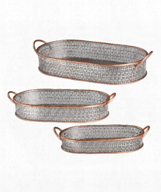 "Fabiana 24"" Tray In Antiqued Silver And Copper Leaf"