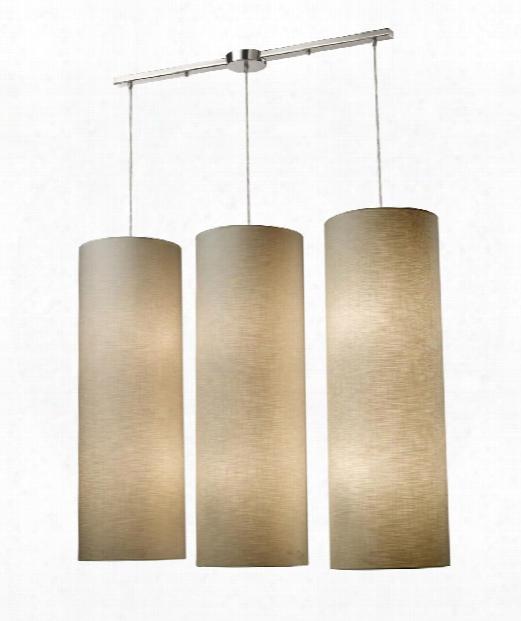 "Fabric Cylinders 43"" Led 12 Light Multi Pendant Light In Satin Nickel"
