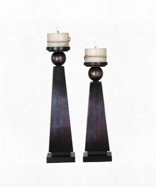 "Geremia 5"" Candle Holder In Oxidized Bronze With Gold Undertones And Matte Black"