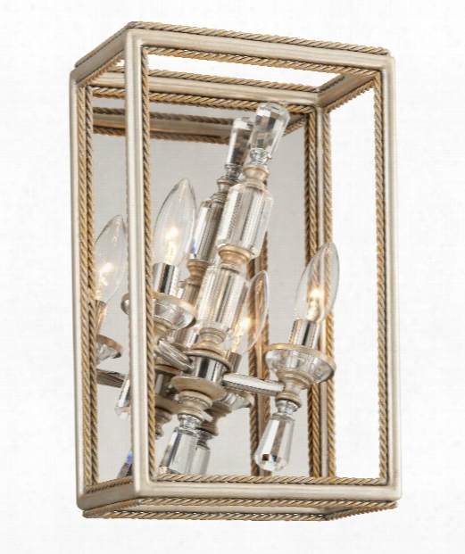 """Houdini 9"""" 2 Light Wall Sconce In Silver Leaf"""
