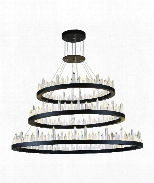 "Malta 42"" Led 128 Light Chandelier In Satin Dark Grey"