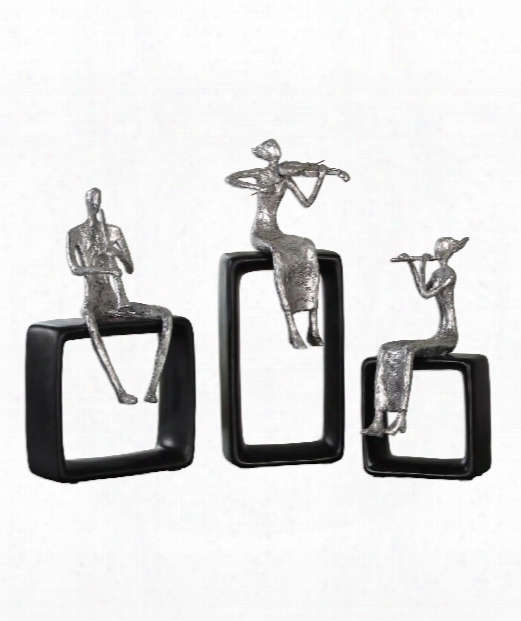 "Musical Ensemble 6"" Figurine In Polished Aluminum With Black"