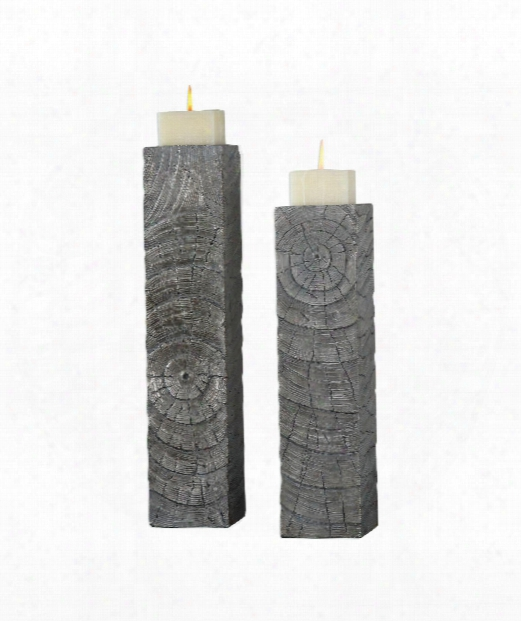 "Odion 6"" Candle Holder In Metallic Silver-light Gray Glaze"