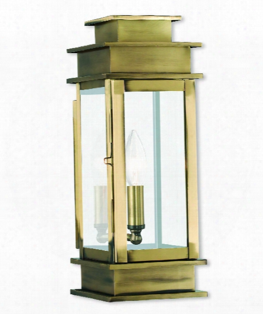 """Princeton 5"""" 1 Light Outdoor Outdoor Wall Light In Antique Brass"""