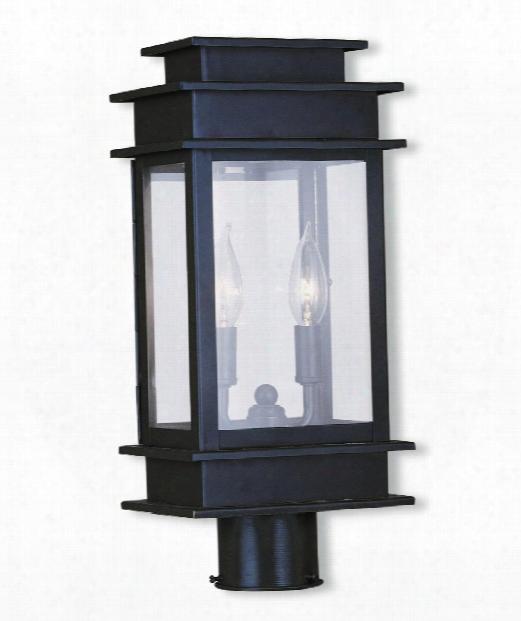 "Princeton 8"" 2 Light Outdoor Post Lamp In Bronze"