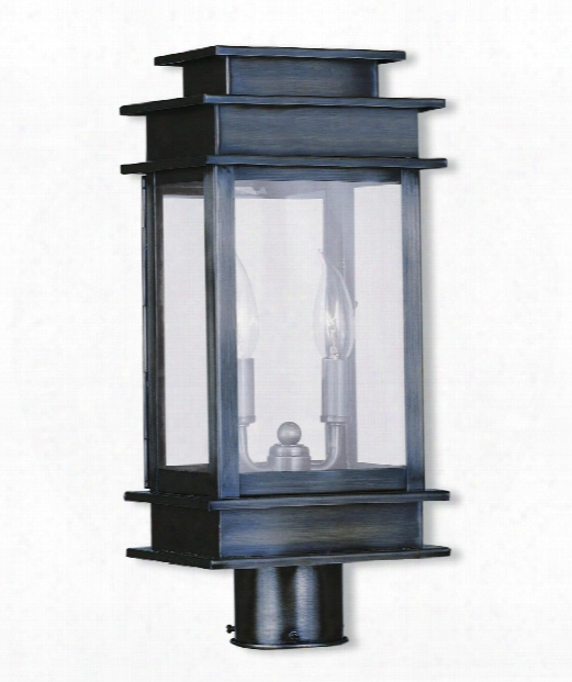 "Princeton 8"" 2 Light Outdoor Post Lamp In Vintage Pewter"
