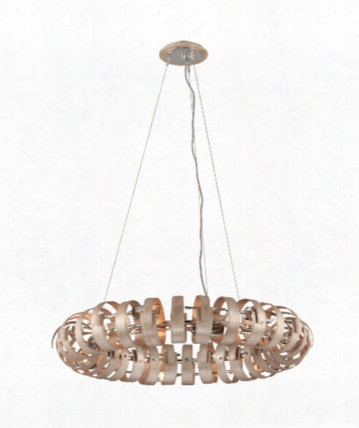 """Recoil 36"""" 12 Light Large Pendant In Textured Silver Leaf"""