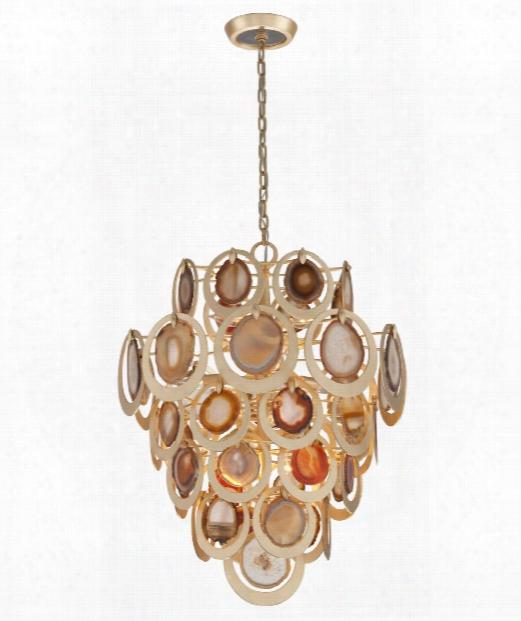 """Rock Star 24"""" 10 Light Large Pendant In Gold Leaf"""