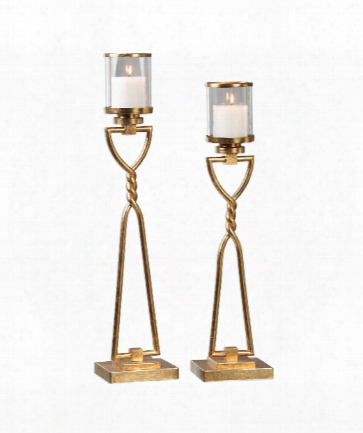 "Susana 6"" Candle Holder In Metallic Gold Leaf"