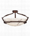 "Calavera 23"" 3 Light Semi Flush Mount in Nutmeg"
