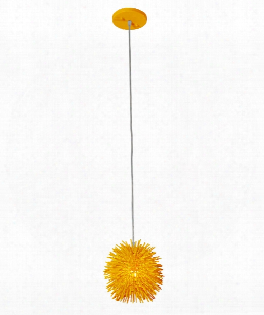 "Urchin 6"" 1 Light Mini Pendant In Un-mellow Yellow"