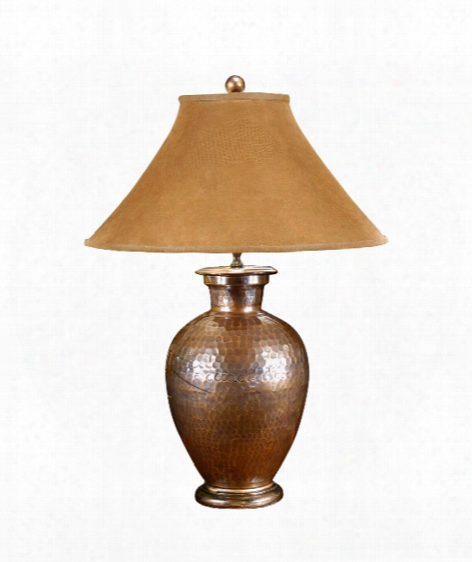 Antique Copper 1 Light Table Lamp In Wood And Brass Accents