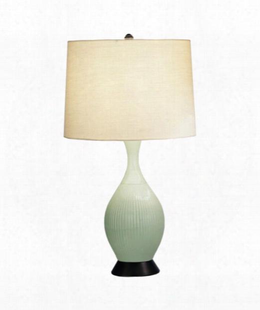 "Ariel 5"" 1 Light Table Lamp In Deep Patina Bronze-celadon"