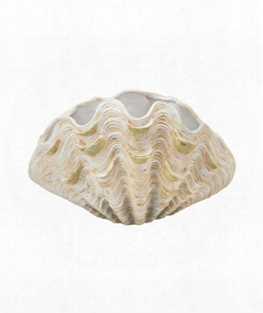 """Cretaceous 19"""" Vase-urn In Aged White"""