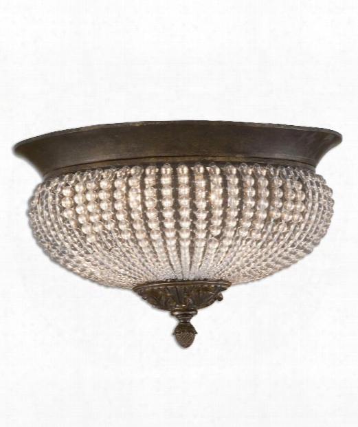 "Cristal De Lisbon 14"" 2 Light Flush Mount In Golden Bronze"