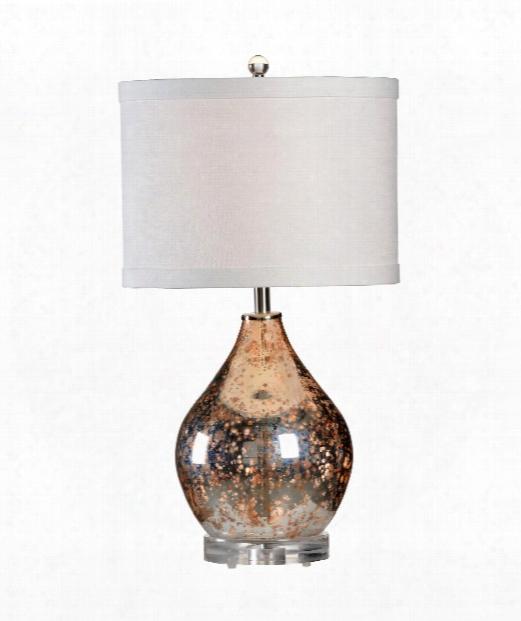 Edistow 1 Light Table Lamp In Orange And Mercury