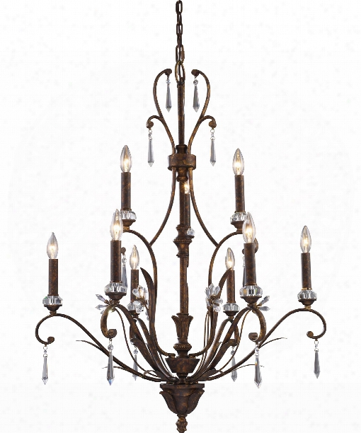 "Emilion 32"" 9 Light Chandelier In Burnt Bronze"