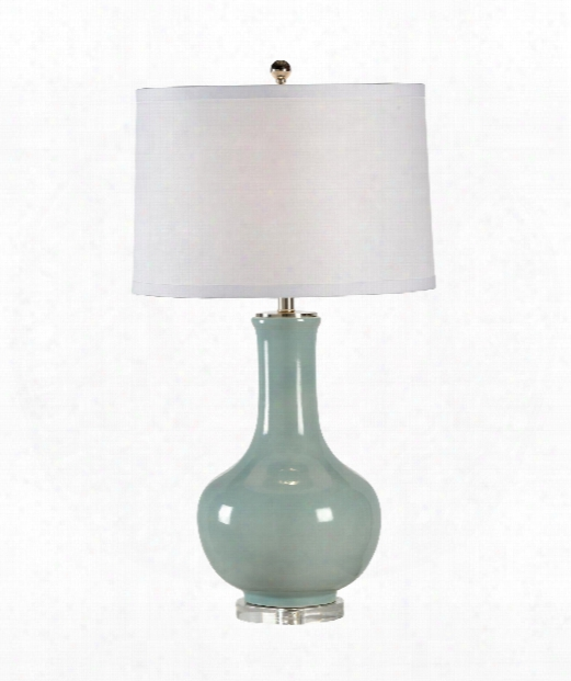 Eva 1 Light Table Lamp In Ceramic With Pale Blue Glaze