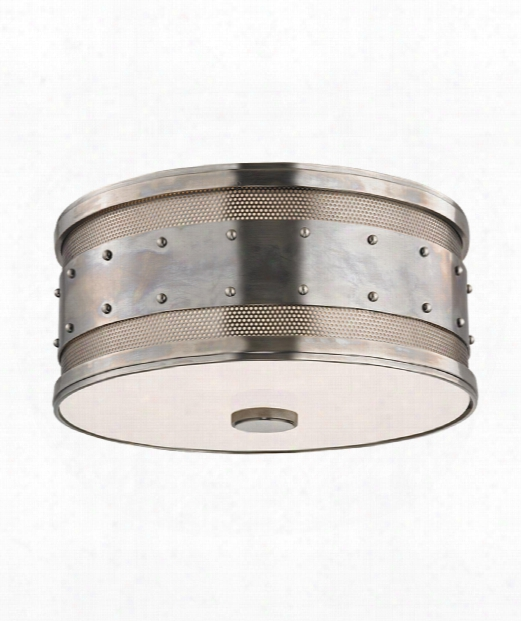 "Gaines 12"" 2 Light Flush Mount In Historic Nickel"