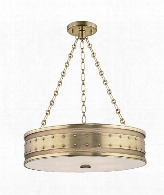 """Gaines 22"""" 4 Light Large Pendant In Aged Brass"""
