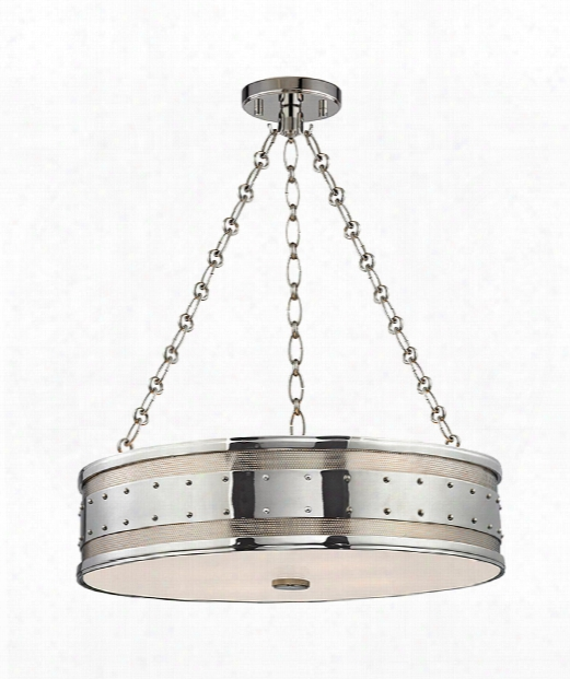"""Gaines 22"""" 4 Light Large Pendant In Polished Nickel"""