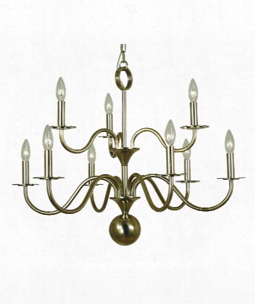 """Jamestown 29"""" 9 Light Chandelier In German Silver"""