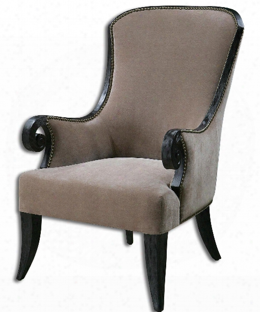 """Kandy 29"""" Arm Chair In Lush Taupe Velvet"""