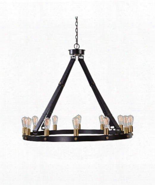 """Marlow 40"""" 12 Light Chandelier In Combination Of Dark Antique Bronze And Weathered Bronze With Leather Straps."""