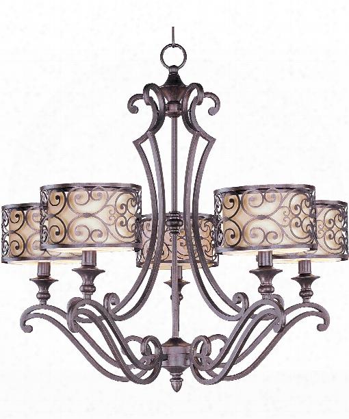 """Mondrian 28"""" 5 Light Chandelier In Umber Bronze"""