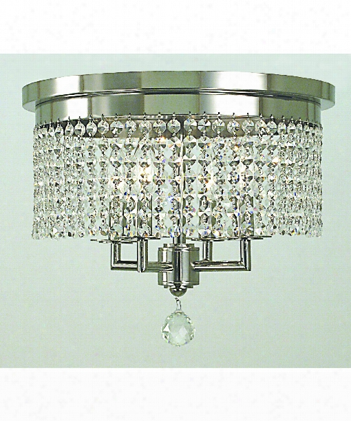 "Princessa 15"" 4 Light Flush Mount In Polished Silver"